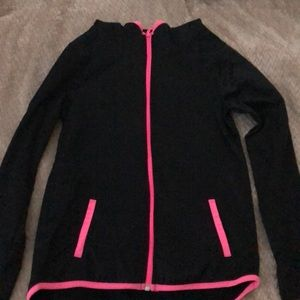 Black Justice Hoodie with Pink Accents.